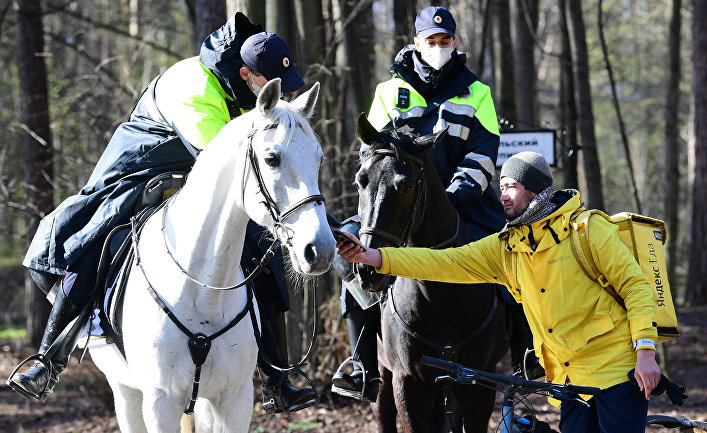 Патрулирование конной полицией улиц в Москве