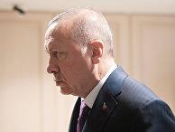 Президент Турции Реджеп Тайип Эрдоган перед началом встречи с президентом РФ Владимиром Путиным 8 января 2020