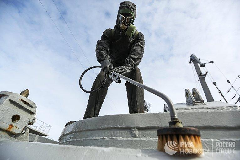 """Санитарная обработка на атомном крейсере """"Петр Великий"""""""