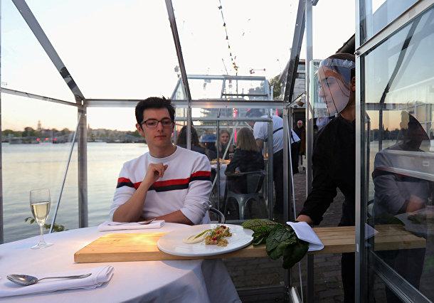 Официант подает еду в «карантинной оранжерее» в Амстердаме