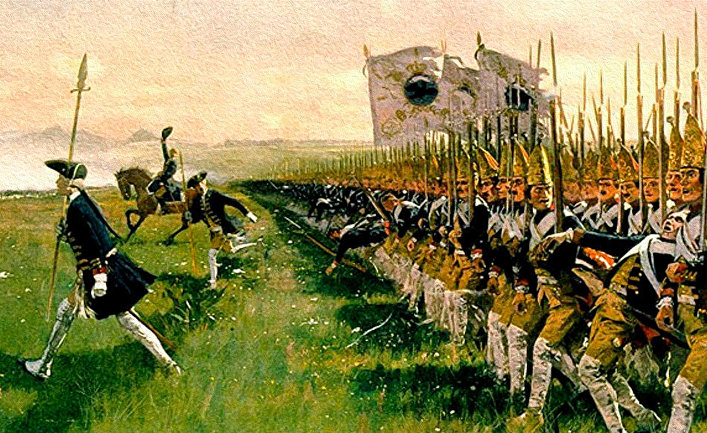 Атака прусской пехоты в битве при Гогенфридберге