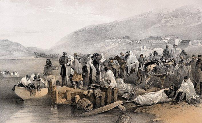 Раненые в Балаклаве. Раскрашенная литография Уильяма Симпсона, 1855