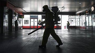 Дезинфекция Ленинградского вокзала в Москве