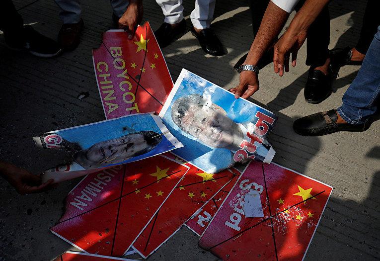 Акция протеста против Китая в Ахмадабаде, Индия