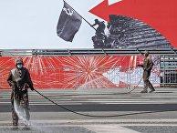 Дезинфекция Дворцовой площади в Санкт-Петербурге