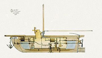 Чертеж подводной лодки 1806 года
