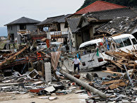 Последствия наводнения в Кумамуре, префектура Кумамото, Япония
