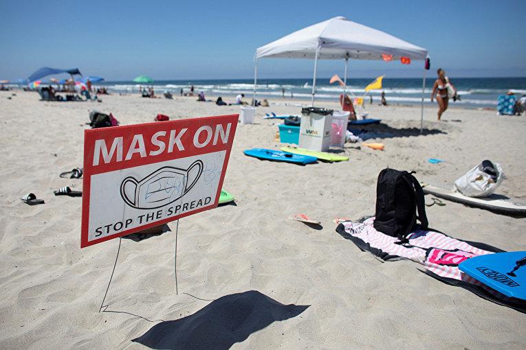 Предупреждающий знак на пляже в Дель-Маре, Калифорния