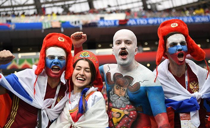 Болельщики сборной России перед матчем группового этапа чемпионата мира по футболу между сборными России и Саудовской Аравии.