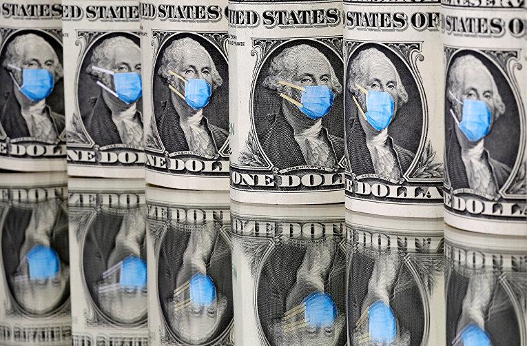 Портреты Джорджа Вашингтона в медицинских масках на однодолларовых банкнотах