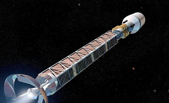 Ракета с двигателем, работающем на антиматерии в представлении художника