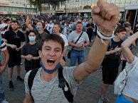Участники акций протеста в Минске, Белоруссия