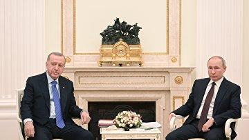 Президент РФ В. Путин и президент Турции Р. Эрдоган