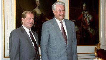 Президент РФ Борис Николаевич Ельцин и президент Чехии Вацлав Гавел