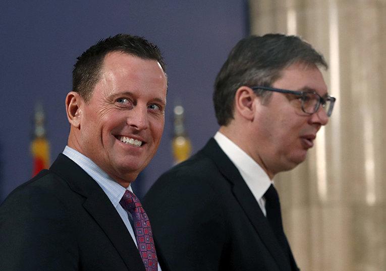 Посол Соединённых Штатов в Германии Ричард Гренелл и президент Сербии Александр Вучич