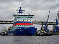 """Ледокол """"Арктика"""" отправляется на ледовые испытания из порта Санкт-Петербурга."""