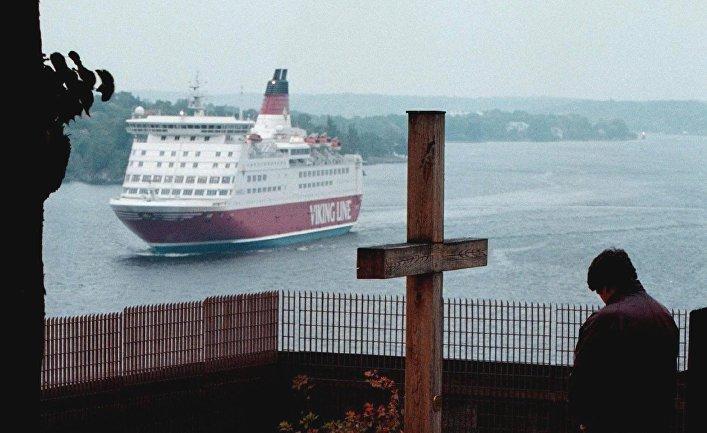 Крест впамять опогибших вкрушении «Эстонии» в1994 году вСтокгольме, Швеция