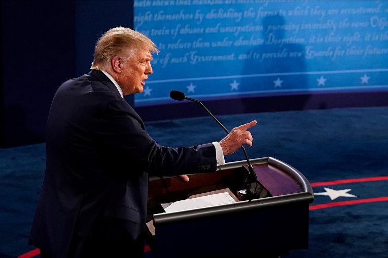 29 сентября 2020. Дональд Трамп на дебатах с Джо Байденом, США