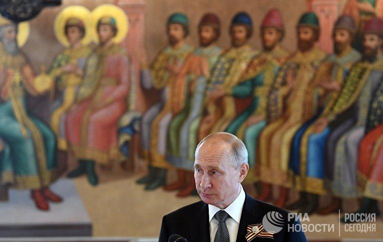 Президент РФ Владимир Путин на приеме в Кремле для глав государств, приглашенных на военный парад в ознаменование 75-летия Победы в Великой Отечественной войне
