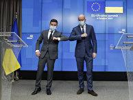 Президент Европейского Совета Шарль Мишель и президент Украины Владимир Зеленский