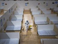 Уборка в госпитале для больных коронавирусом, Китай