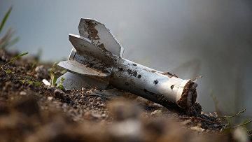 Фрагмент артиллерийского снаряда на линии фронта в Нагорном Карабахе