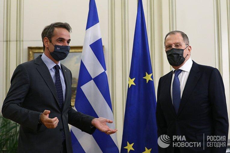 Встреча главы МИД РФ С. Лаврова с премьер-министром Греции К. Мицотакисом