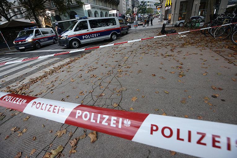 Полиция на месте перестрелки в Вене, Австрия