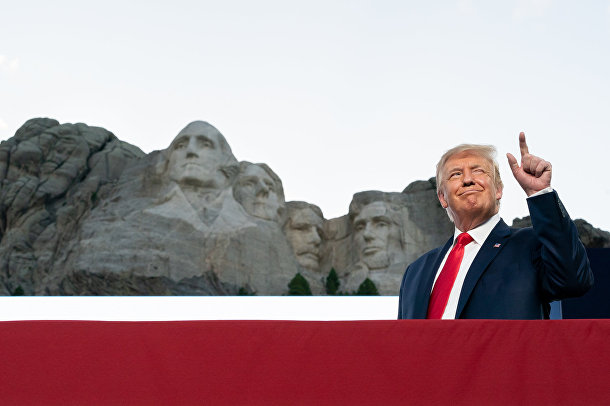 President Donald J. Trump attends a Fourth of July celebration Friday, July 3, 2020, at Mount Rushmore National Memorial in Keystone, S.D.