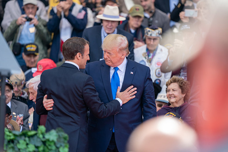 President Donald J. Trump and French President Emmanuel Macron honor those who made the greatest sacrifice during 75th Commemoration of D-Day Thursday, June 6, 2019, at the Normandy American Cemetery in Normandy, France.