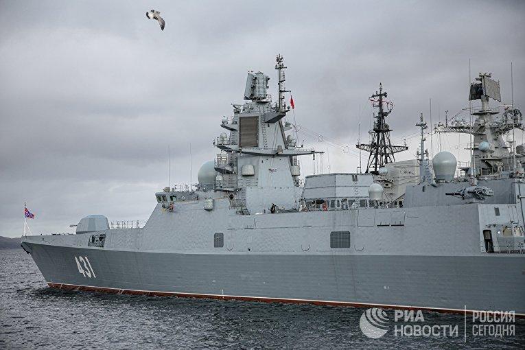 """Прибытие фрегата """"Адмирал флота Касатонов"""" в Североморск"""