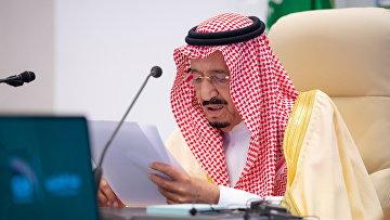 Король Саудовской Аравии Салман ибн Абдель Азиз Аль Сауд выступает на саммите G20