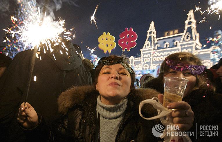 Встреча Нового года на Красной площади в Москве
