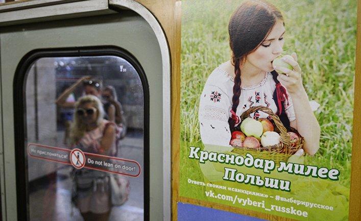 """Плакат """"Краснодар милее Польши"""" группы социальной сети """"ВКонтакте"""" """"Выбери русское"""""""