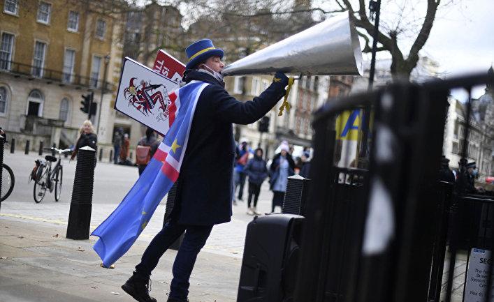 24 декабря 2020. Мужчина протестует против Брексита в Лондоне, Великобритания
