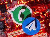 Логотипы Telegram и WatsApp
