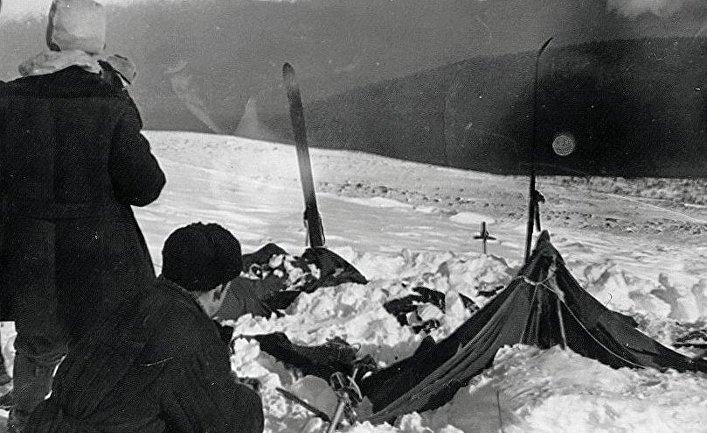 Вид на найденную палатку группы Дятлова