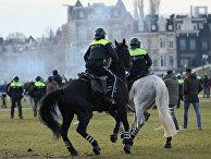 Полиция во время беспорядков в Амстердаме