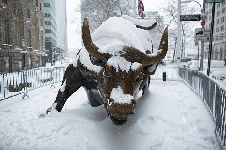 Заснеженная статуя «Атакующего быка» на Уолл-стрит в Нью-Йорке