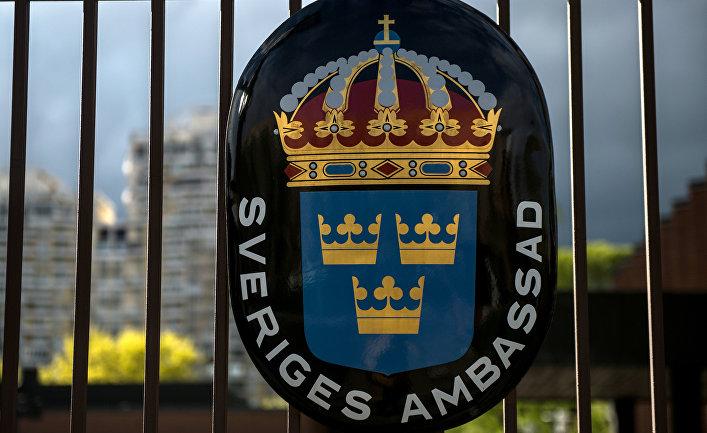 Герб Королевства Швеция в посольстве Швеции в РФ в Москве