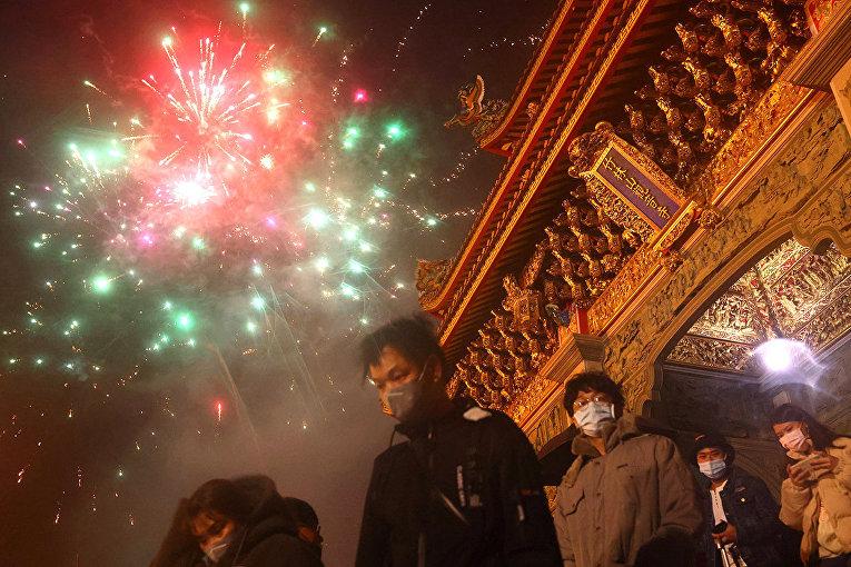 Новогодний фейерверк в Тайбэе, Тайвань