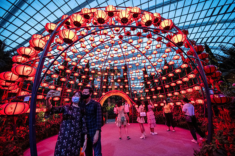 Посетители фотографируются на ежегодной цветочной выставке в преддверии Лунного Нового Года в Сингапуре