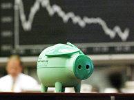 Свинья-копилка на бирже во Франкфурте, Германия