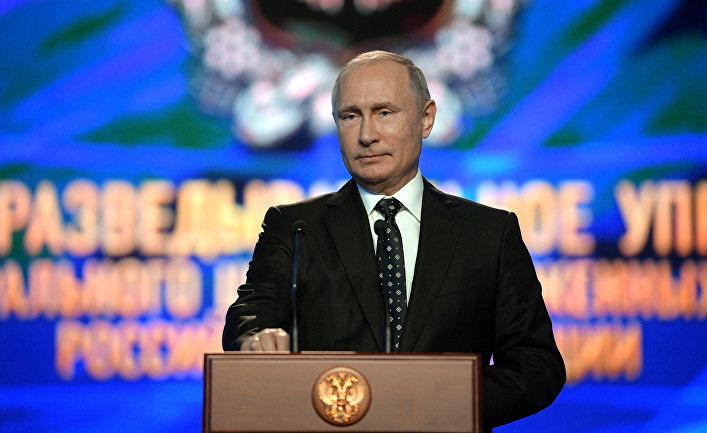 Президент РФ В. Путин принял участие в торжественном мероприятии по случаю 100-летия ГРУ