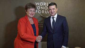 Президент Украины Владимир Зеленский и директор-распорядитель МВФ Кристалина Георгиева