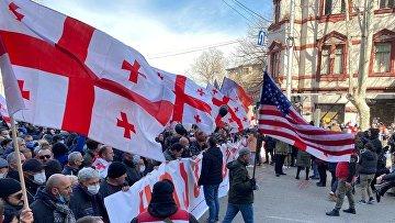 Акция протеста оппозиции в Тбилиси