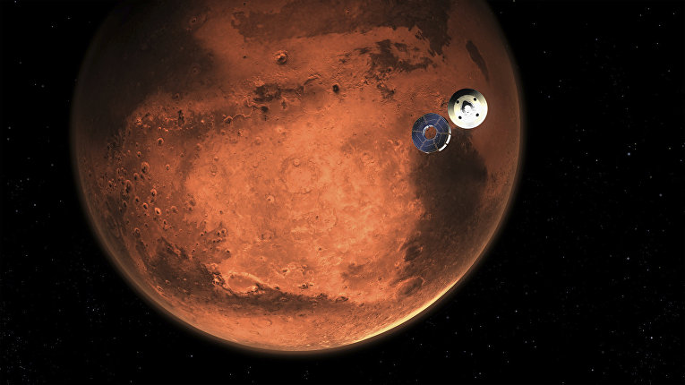 Иллюстрация входа в атмосферу Марса космического аппарата Perseverance