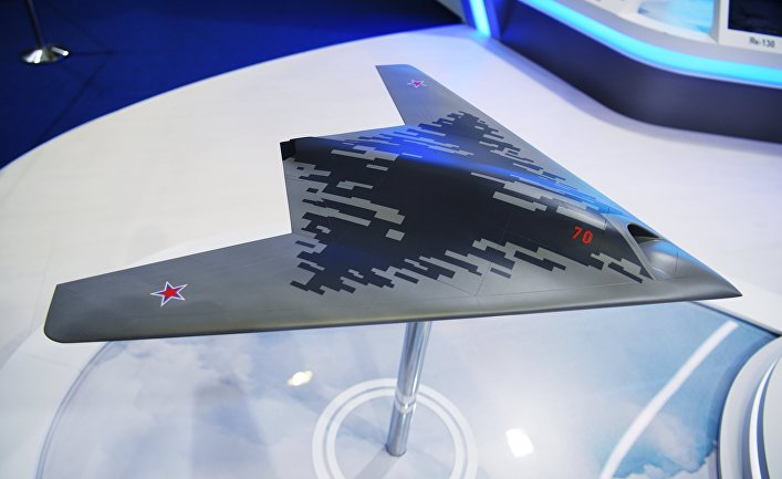 """Макет беспилотного летательного аппарата С-70 """"Охотник"""""""