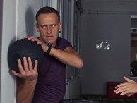 Алексей Навальны и его личный тренер Бьорн Лебер в фитнес-студии в Санкт-Блазиене, Германия