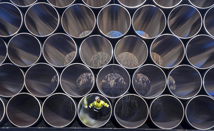 Трубы для «Северного потока— 2» вЗасснице, Германия